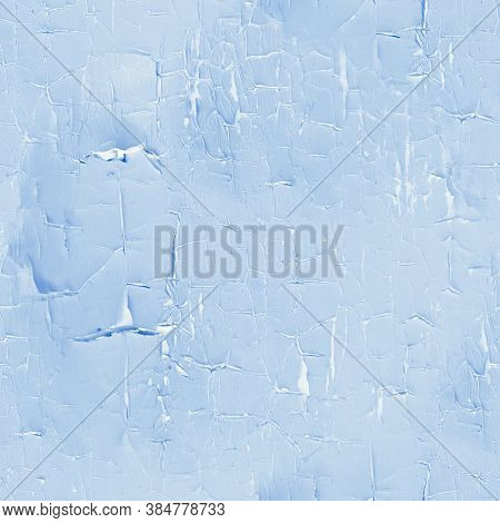 Blue Painted Wood. Worn Crackle Illustration. Grungy Rough Coating. Distressed Shabby Painted Wood.