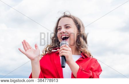 Check Out The New Music. Happy Girl Enjoy The Moment. Have Fun On Celebration. Teen Kid Singing With