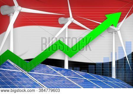 Yemen Solar And Wind Energy Rising Chart, Arrow Up  - Renewable Energy Industrial Illustration. 3d I