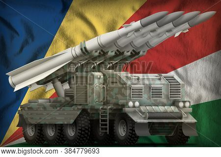 Tactical Short Range Ballistic Missile With Arctic Camouflage On The Seychelles Flag Background. 3d