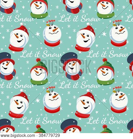 Hand Drawn Christmas Holiday Seamless Pattern. Cute Snowman Sign Cartoon. Fancy Text Let It Snow. Ne