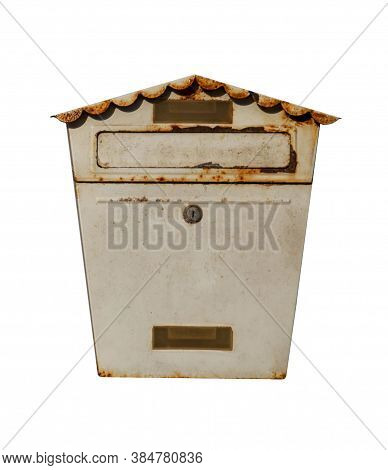 Old Metal Post Box Isolated On White Background. Rusty Vintage Outside Mailbox.