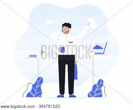 Businessman Does Several Things At Once Time. He Is Holding Bag, Drink Coffee, Talk On The Phone, Re