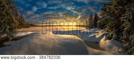 Amazing Winter Landscape At Sunrise And Sunset, The Best Photo