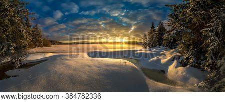 Amazing Winter Landscape At Sunrise And Sunset, The Best Photo