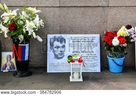 Memorial With Fresh Flowers And A Portrait In Memory Of Russian Politician Boris Nemtsov At The Scen