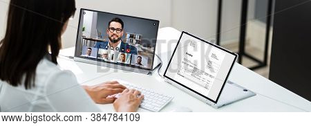 Video Conferencing Webinar Meeting. Watching Online On Multiple Screens