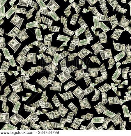 Seamless Money Background. Dollar Bill. Washington American Cash. Usd Money Isolated On Black Backgr