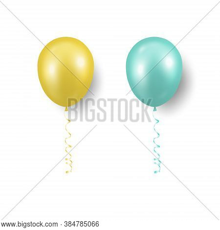 Vector 3d Realistic Yellow, Turquoise Balloon With Ribbon Set Closeup Isolated. Design Template Of T