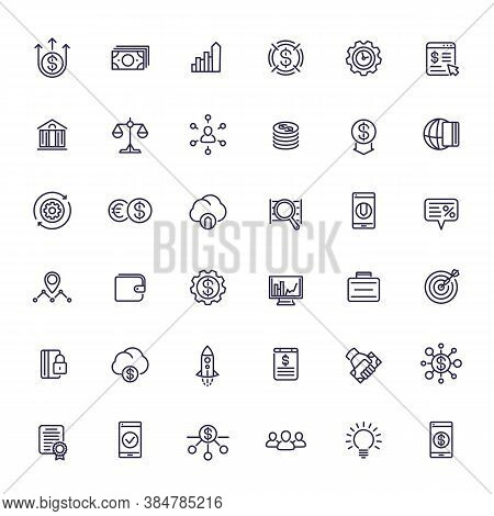 Venture Capital, Investments, Start-up, Hedge Funds And Finance Line Icons Set