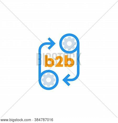 B2b Icon With Cogwheels, Vector, Eps 10 File, Easy To Edit