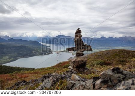 Cairns Rocks On Top Of A Mountain During Cloudy Day. Taken In Carcross, Near Whitehorse, Yukon, Cana