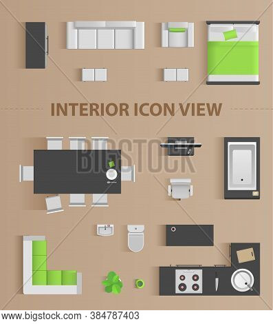 Set Top View For Interior Icon Design. Isolated Vector Illustration.
