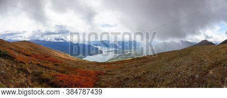 Panoramic View Of Colorful Meadow Fields On Top Of Nares Mountain During Fall Season. Located In Car