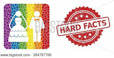 Wedding Couple Collage Icon Of Round Dots In Different Sizes And Lgbt Color Hues, And Hard Facts Cor