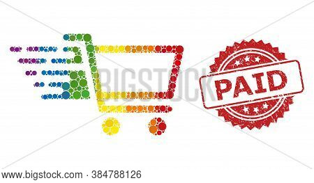 Shop Cart Collage Icon Of Spheric Items In Different Sizes And Lgbt Colored Color Hues, And Paid Gru