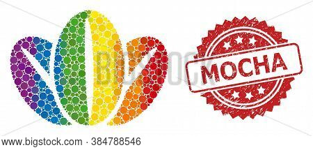 Coffee Beans Collage Icon Of Round Items In Various Sizes And Lgbt Multicolored Color Tinges, And Mo