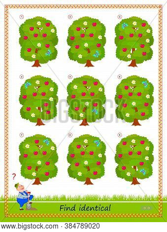Logic Puzzle Game For Children And Adults. Need To Find Two Identical Trees. Printable Page For Kids