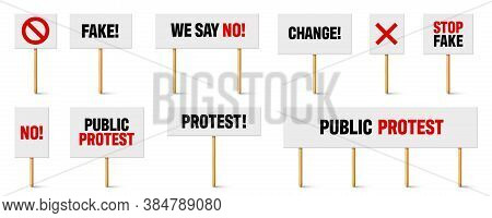 Protest Signs With Slogan On Wooden Holder. Realistic Vector Demonstration Banner. Strike Action Car