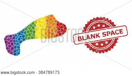 Spot Mosaic Icon Of Circle Items In Different Sizes And Lgbt Colored Color Tints, And Blank Space Di