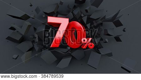Abstract Explosion Background. 70 Seventy Percent Sale. Black Friday Idea. Up To 70%. Broken Black W