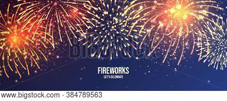 Festive Fireworks. Realistic Colorful Firework. Christmas Or New Year Greeting Card. Diwali Festival
