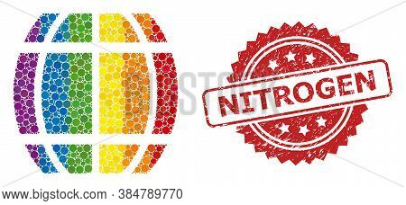 Barrel Collage Icon Of Spheric Items In Different Sizes And Rainbow Colorful Shades, And Nitrogen Te