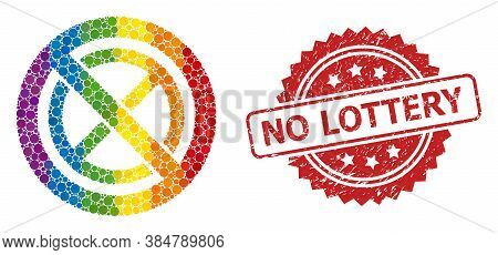 Forbidden Ban Collage Icon Of Round Elements In Different Sizes And Rainbow Colored Color Tinges, An