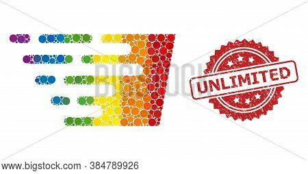 Fast Effect Collage Icon Of Circle Blots In Various Sizes And Lgbt Colored Color Tones, And Unlimite