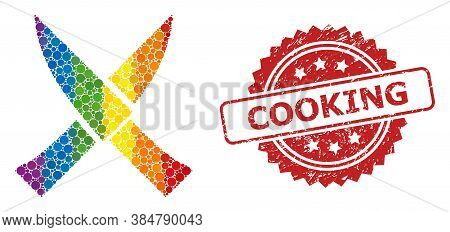 Crossing Knives Collage Icon Of Circle Dots In Various Sizes And Lgbt Colored Color Tones, And Cooki