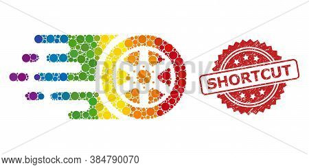 Bolide Car Wheel Collage Icon Of Circle Elements In Variable Sizes And Spectrum Color Tones, And Sho