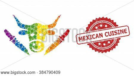 Cow Butchery Mosaic Icon Of Round Spots In Different Sizes And Lgbt Colored Color Tinges, And Mexica