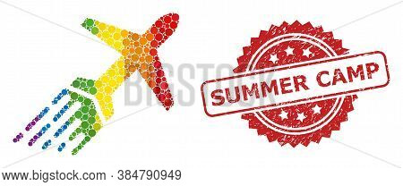 Air Liner Mosaic Icon Of Round Spots In Various Sizes And Lgbt Colored Color Tinges, And Summer Camp