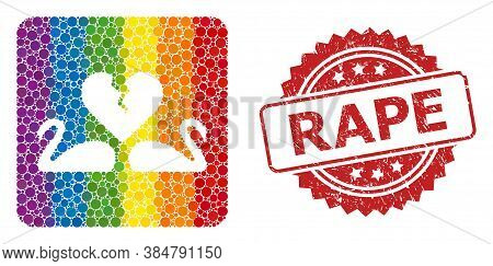 Divorce Swans Collage Icon Of Spheric Dots In Various Sizes And Spectrum Colored Color Tinges, And R