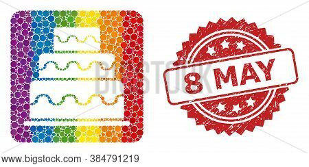 Cake Mosaic Icon Of Round Items In Different Sizes And Lgbt Colored Color Tones, And 8 May Corroded