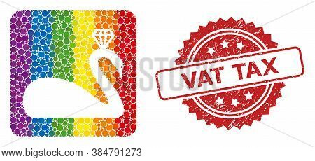 Crowned Swan Collage Icon Of Round Items In Variable Sizes And Lgbt Colorful Color Tinges, And Vat T