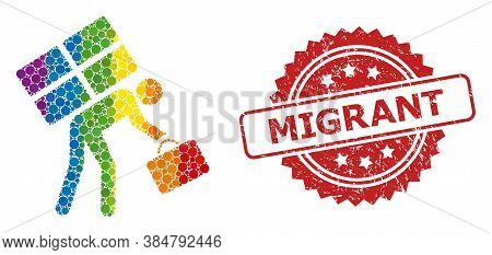 Refugee Person Collage Icon Of Circle Spots In Various Sizes And Lgbt Colored Color Hues, And Migran