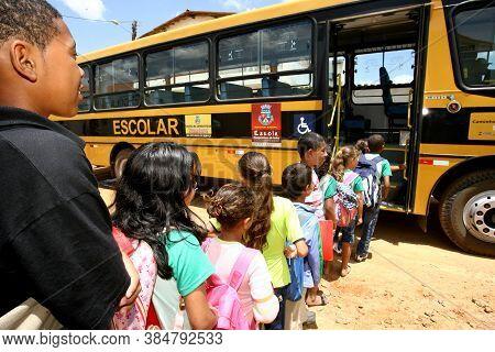 Vitoria Da Conquista, Bahia / Brazil - October 31, 2011: Students From Maria Santana Municipal Schoo