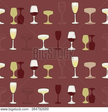 Vector Red Burgundy Champagne And Wine Collection Seamless Pattern Background.