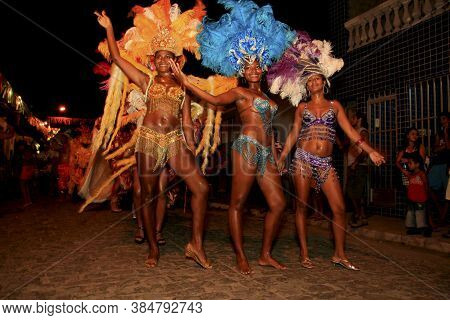 Caravelas, Bahia / Brazil - February 22, 2009: Members Of Irmaos Portela Samba School Are Seen Durin