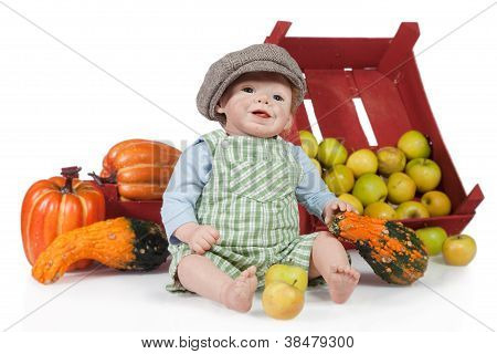 Baby Boy Doll With Pumpkin