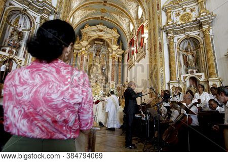 Salvador, Bahia / Brazil - July 1, 2015: Philharmonic Plays During Mass Symbolizing The