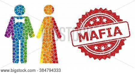 Just Married Persons Collage Icon Of Round Items In Various Sizes And Rainbow Colored Color Tones, A