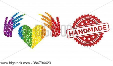 Handmade Love Collage Icon Of Circle Dots In Various Sizes And Lgbt Colored Color Hues, And Handmade