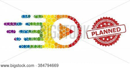 Rush Right Collage Icon Of Round Dots In Variable Sizes And Lgbt Color Tints, And Planned Unclean Ro
