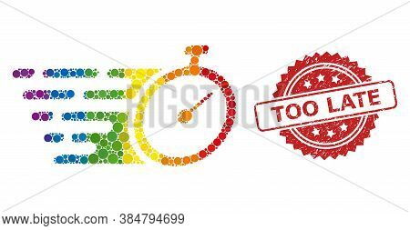 Time Tracker Mosaic Icon Of Circle Blots In Different Sizes And Rainbow Colored Shades, And Too Late