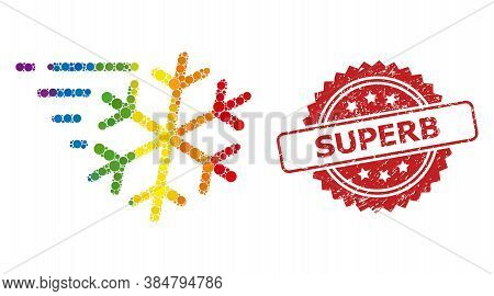 Frost Wind Collage Icon Of Circle Items In Variable Sizes And Spectrum Multicolored Color Tints, And