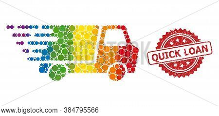 Quick Delivery Collage Icon Of Filled Circle Spots In Different Sizes And Spectrum Colored Shades, A