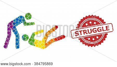 Judo Struggle Collage Icon Of Filled Circle Elements In Variable Sizes And Rainbow Colored Color Tin