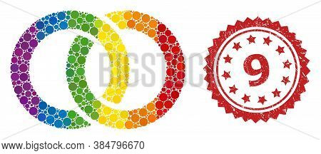 Wedding Rings Collage Icon Of Round Blots In Different Sizes And Lgbt Colored Color Tinges, And 9 Co